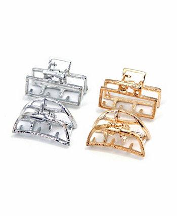 Современные металлические прямоугольные челюсти для волос Mini Metal Moon Hair Jaw, набор из 4 шт. Soho Style