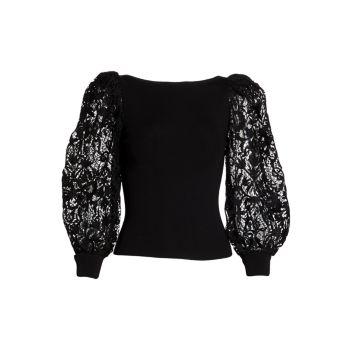 Abella Lace Puff-Sleeve Sweater Alice + Olivia