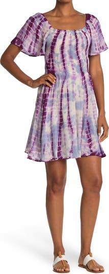Smocked Tie Dye Print Dress Angie