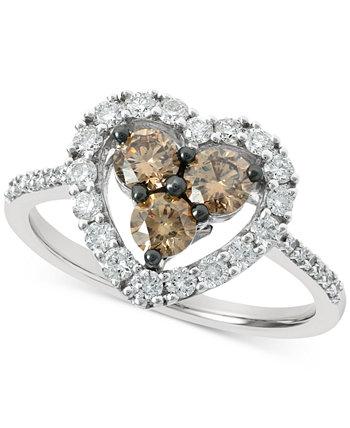 Массивное кольцо в форме сердца с шоколадным бриллиантом (1/2 карата) и телесным бриллиантом (3/8 карата) из белого золота 585 пробы Le Vian