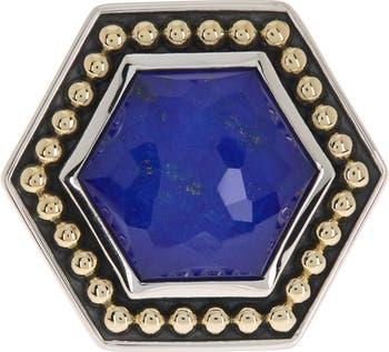 Сундук с сокровищами из золота 18 карат и стерлингового серебра с шестиугольником из лазурита - размер 7 LAGOS