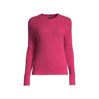 Кашемировый свитер с круглым вырезом и шейкерной строчкой Minnie Rose