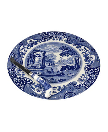 Голубая итальянская сырная тарелка и нож Spode