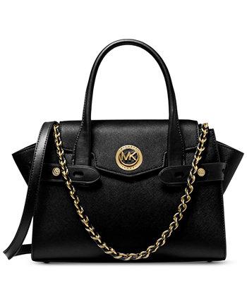 Кожаная сумка-портфель Carmen с маленьким клапаном и ремнем Michael Kors
