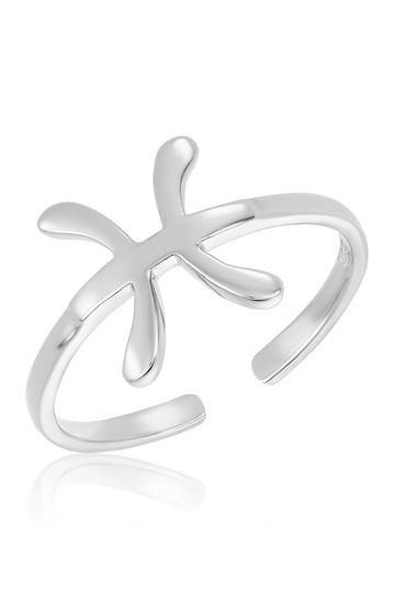 Регулируемое кольцо со знаком зодиака из стерлингового серебра - Рыбы Sterling Forever