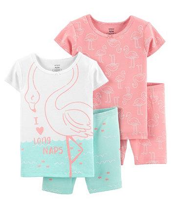 Хлопковые пижамы с фламинго для маленьких девочек, 4 шт. Carter's