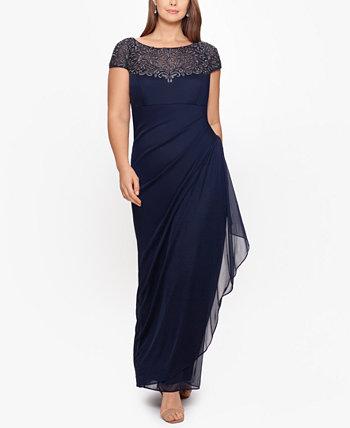 Платье больших размеров с украшенной иллюзией кокеткой XSCAPE