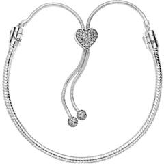 Браслет-слайдер Pandora Moments Pavé Heart Clasp Snake Chain PANDORA