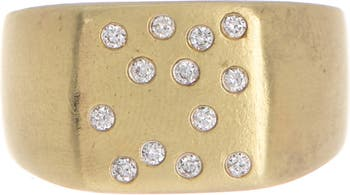 Yellow Gold Diamond Dots Ring - Size 6.5 - 0.13 ctw Meira T