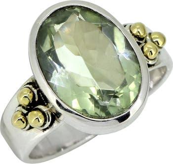 Кольцо из латуни из стерлингового серебра с празиолитом Nitya