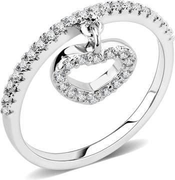 Кольцо с подвеской в виде сердца из латуни с родиевым покрытием Covet