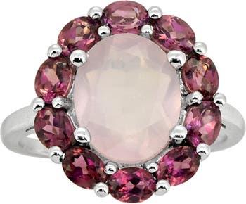 Кольцо из стерлингового серебра с розовым кварцем и гранатом с родолитом Nitya