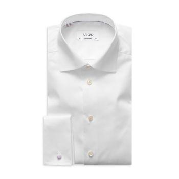 Классическая рубашка из твила с рисунком в елочку, современного кроя Eton