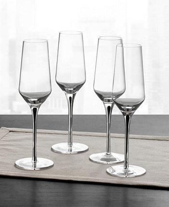 Бокалы для шампанского с черным стержнем, набор из 4 шт., Создан для Macy's Hotel Collection
