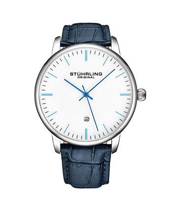 Мужские часы с синим кожаным ремешком 43мм Stuhrling