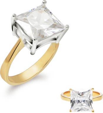 Классическое кольцо Princess Cut с 4 зубцами из 14-каратного золота с вермейлом и CZ Gabi Rielle