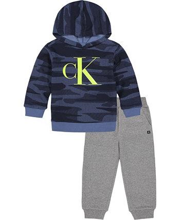 Худи с камуфляжным логотипом Baby Boys и флисовые джоггеры, комплект из 2 предметов Calvin Klein