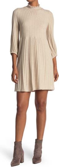Smocked Mock Neck Fit & Flare Dress Sandra Darren