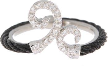 Кольцо с черным бриллиантом из нержавеющей стали из белого золота 18 карат с черным бриллиантом - размер 6.5 ALOR