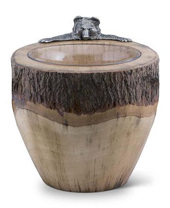 Натуральное бревно, лед, вино, ведро для шампанского с оловянным медведем Vagabond House