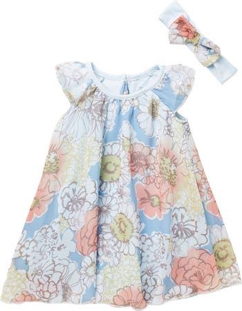 Шифоновое платье с цветочным принтом и повязка на голову Baby Starters