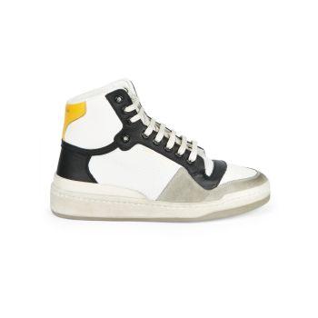 Высокие кожаные кроссовки с перфорацией SL24 Saint Laurent