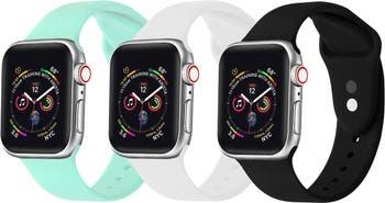 Черный / белый / мятный силиконовый ремешок для часов 42 мм / 44 мм Apple, серии 1, 2, 3, 4, 5, - 3 шт. В упаковке POSH TECH