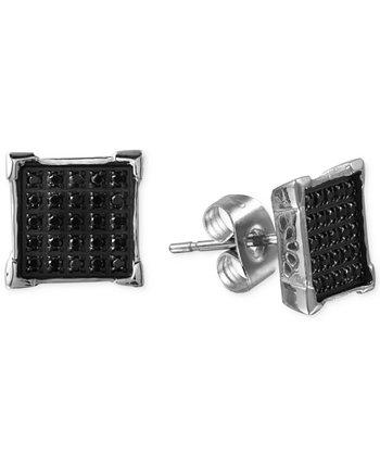 Мужские серьги с черным бриллиантом (1/4 карата) из нержавеющей стали Macy's