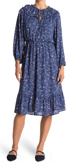 Платье с цветочным принтом и разрезом на воротнике Collective Concepts
