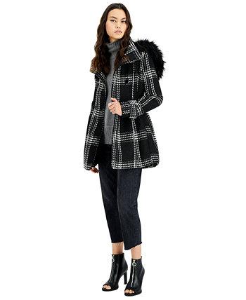 Двубортное пальто с капюшоном и искусственным мехом для юниоров BCX