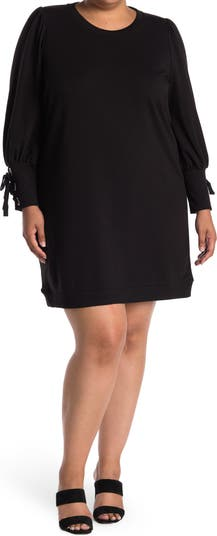 Lace-Up Cuff Long Sleeve Shift Dress BLUE ORCHID