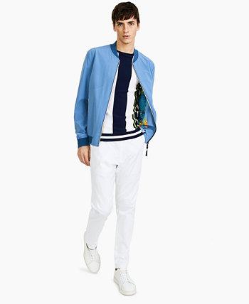 Легкая перфорированная мужская спортивная куртка облегающего кроя синего цвета Paisley & Gray