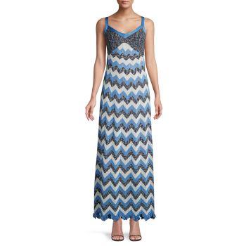 Metallic Chevron Maxi Dress M Missoni