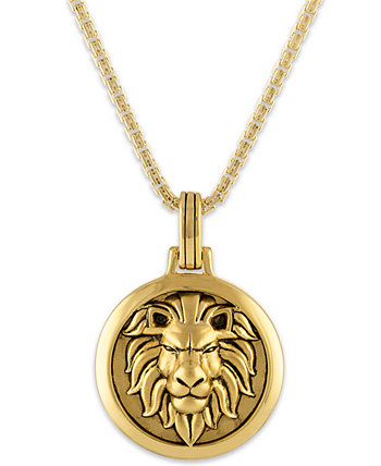 Ожерелье с подвеской Lion Amulet 24 дюйма из позолоченного серебра 14k, созданное для Macy's Esquire Men's Jewelry