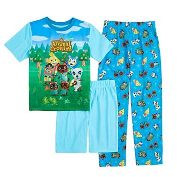 Boys 4-12 Nintendo Animal Crossing Top, Shorts & Pants Pajama Set Licensed Character