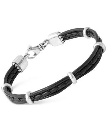 Мужской многожильный кожаный браслет из стерлингового серебра King Baby