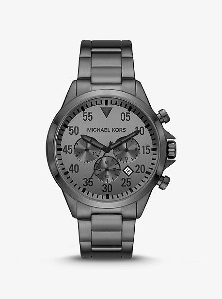 Oversized Thompkins Gunmetal Watch Michael Kors