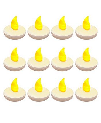 Lumabase Set of 12 Flickering Amber Floating Tealights Macy's
