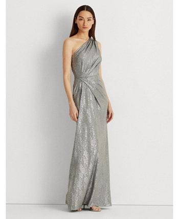 Металлическое платье на одно плечо Ralph Lauren