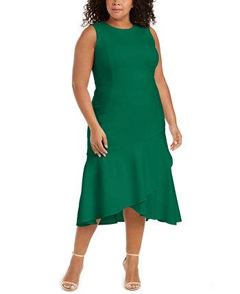 Платье миди большого размера с оборками Calvin Klein