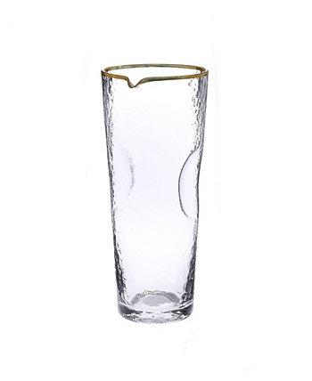 Стеклянный кувшин для воды из гальки с золотой оправой Classic Touch