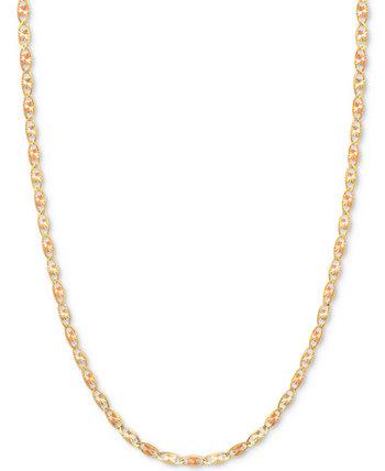 16-дюймовое трехцветное колье Валентина (1/5 мм) из 14-каратного золота, белого золота и розового золота Italian Gold