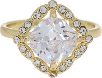 Помолвочное кольцо с полужирным шрифтом CZ с покрытием из 14-каратного золота Covet