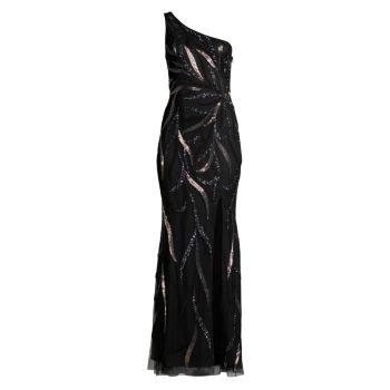 Платье на одно плечо с разрезом и бисером Aidan Mattox