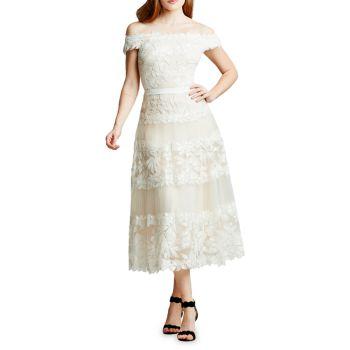 Платье трапециевидной формы с открытыми плечами и цветочной вышивкой Tadashi Shoji