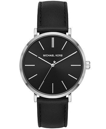 Мужские черные кожаные часы Jayne с тремя стрелками 42мм MK7145 Michael Kors