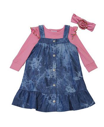 Ребристый топ Little Girls и повязка на голову из джинсового сарафана Tie Dye, набор из 3 предметов Blueberi Boulevard