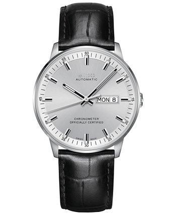 Мужские швейцарские часы с автоматическим хронометром Commander с черным кожаным ремешком 40 мм MIDO