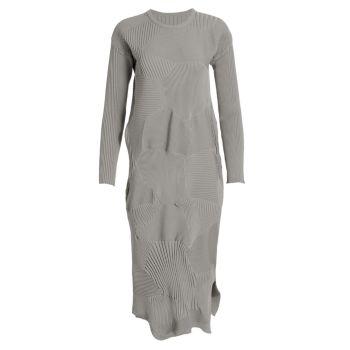 Платье с длинным рукавом в рубчик Kone Issey Miyake