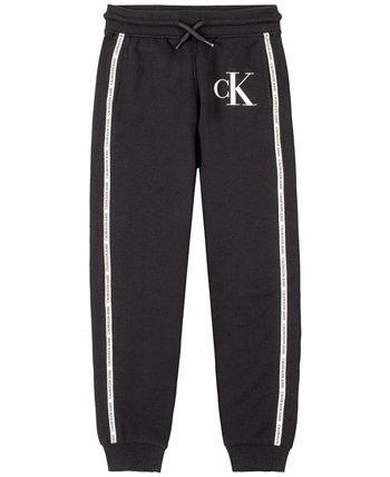 Флисовые брюки-джоггеры с отделкой в рубчик с логотипом Big Boys Calvin Klein